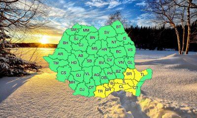 Ninge în jumătate din țară, drumurile rămân deschise deocamdată. Cod galben