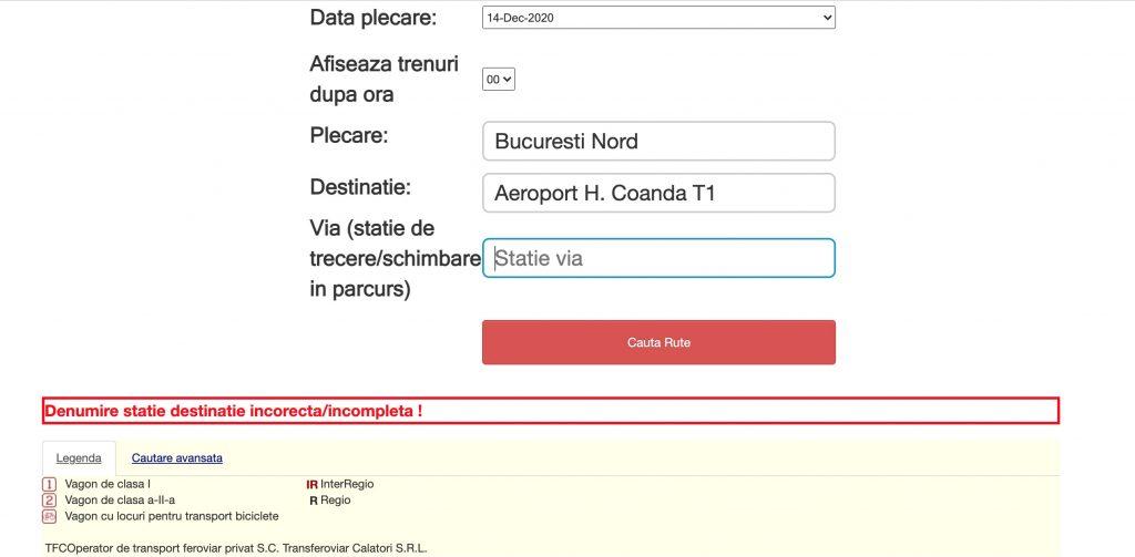 Trenuri spre Aeroportul Otopeni din Bucuresti Gara de Nord. Infrastructura online nu este pregatita