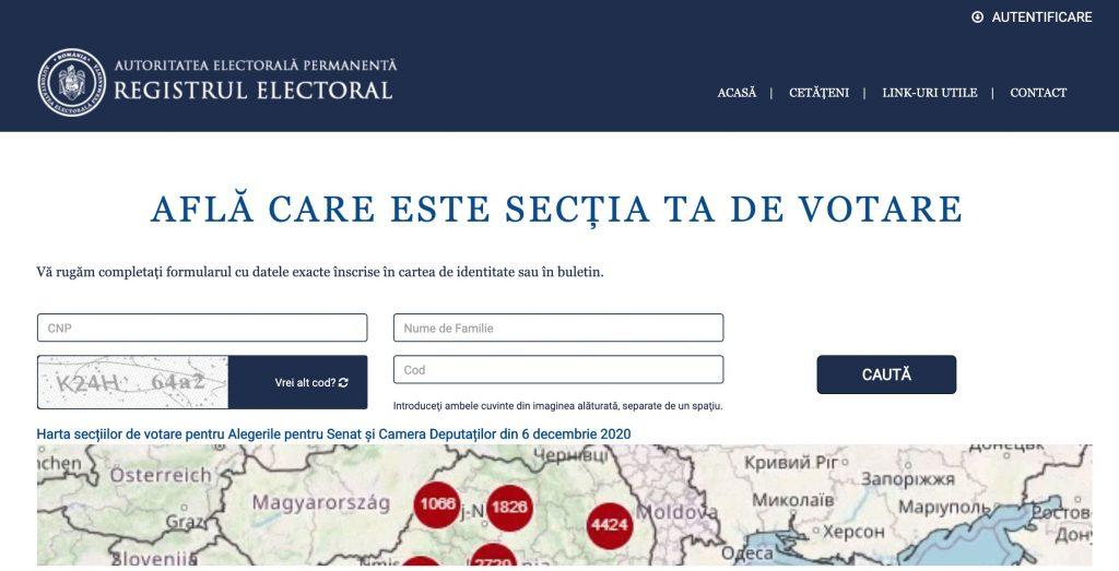 Registrul Electoral este site-ul oficial unde poti afla ce sectie de votare ti-a fot arondata la Alegerile Parlamentare 2020