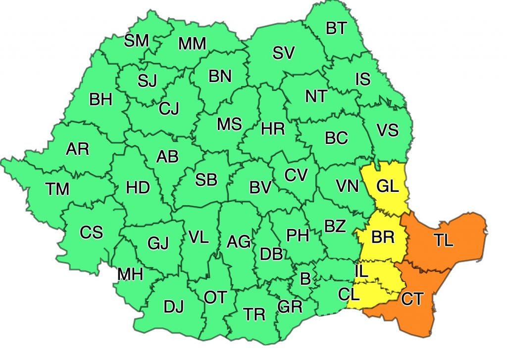 Vremea în București se înrăutățește. ANM a emis 5 coduri galbene de vreme severă și un cod portocaliu pentru Constanta si Tulcea