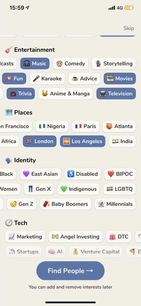 Interfața aplicației Clubhouse, după ce primești invitație