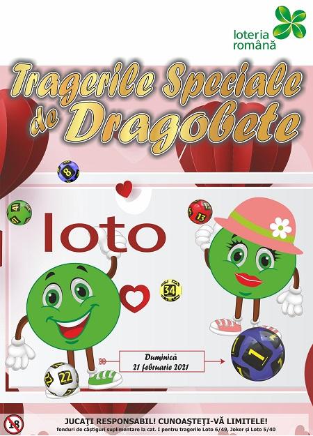 Loteria Română suplimenteză premiile la tragerile loto 6/49, Joker și 5 din 40 de Dragobete