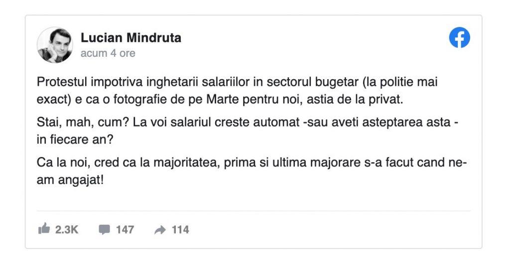 Lucian Mîndruță primește o replică în urma unui comentariu pe tema salariilor din poliție