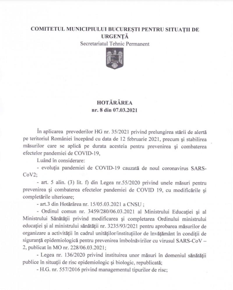 Hotărâre CMBSU nr. 8 din 7 martie 2021
